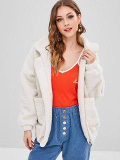 Fluffy Zip Up Winter Teddy Coat - Crystal Cream S
