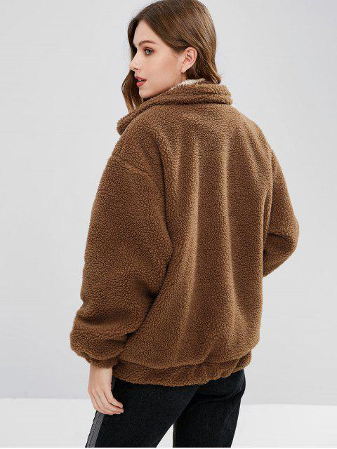 outfits Fluffy Zip Up Winter Teddy Coat - COFFEE L Mobile