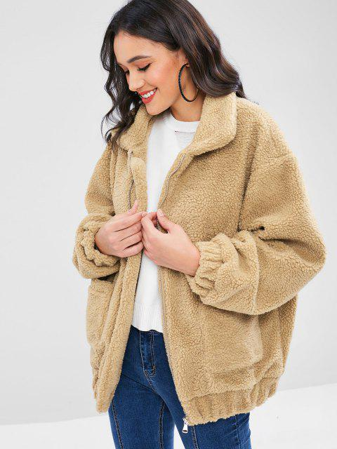fashion Fluffy Zip Up Winter Teddy Coat - CAMEL BROWN L Mobile