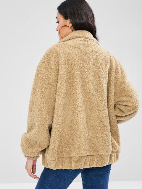 trendy Fluffy Zip Up Winter Teddy Coat - CAMEL BROWN S Mobile