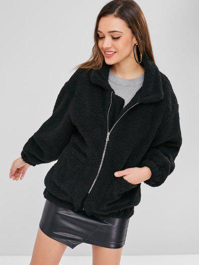 Fluffy Zip Up Winter Teddy Coat - Black M