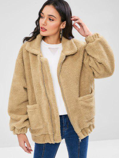 Fluffy Zip Up Winter Teddy Coat - Camel Brown L