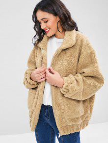 Fofo Zip Up Inverno Teddy Coat