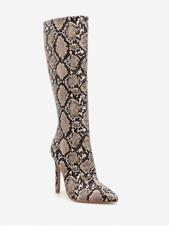ladies Snake Print Heeled Knee High Boots - APRICOT EU 40