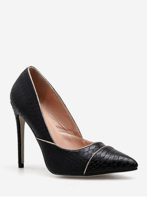 new Contrast Stripe Pointed Toe Pumps - BLACK EU 36