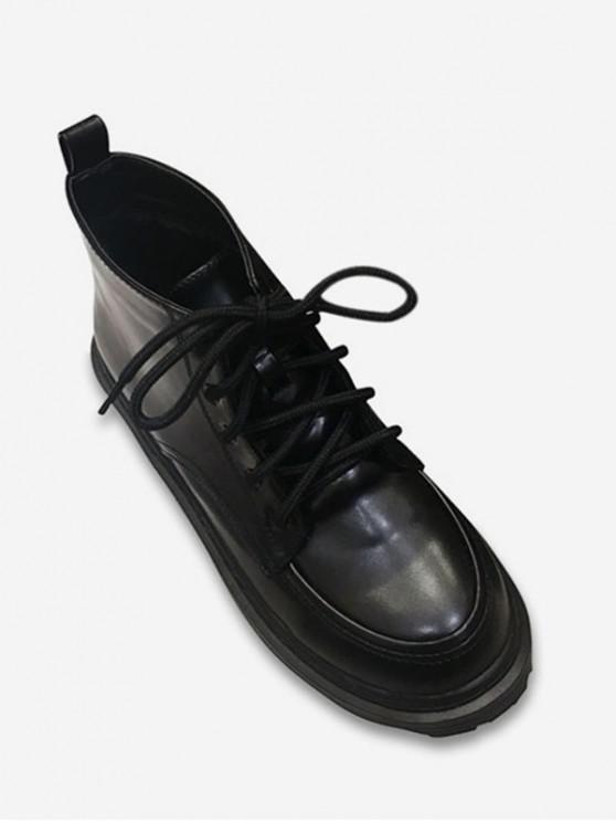 Tie Up Round Toe Ankle Boots - Noir EU 39