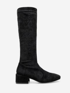 Chunky Heel Mid Calf Boots - Black Eu 36