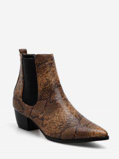 Snake Print Ankle Chelsea Boots - Deep Brown Eu 36