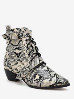 Double Buckle Snake Print Ankle Boots - Black Eu 37
