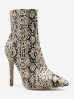 Snake Print High Heel Boots - Apricot Eu 38