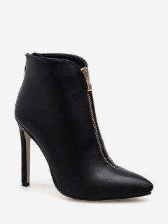 Front Zip Pointed Toe Ankle Boots - Black Eu 40