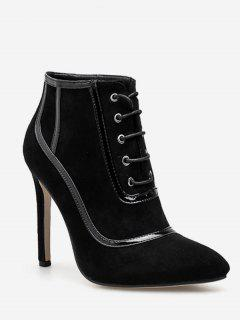 Lace Up Heeled Suede Ankle Boots - Black Eu 37