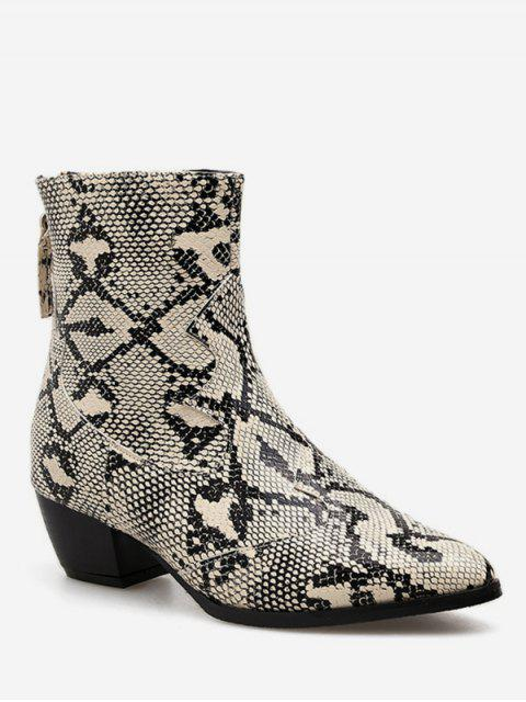 Snake Print Pointed Toe Leather Short Boots - Чёрный ЕС 40 Mobile