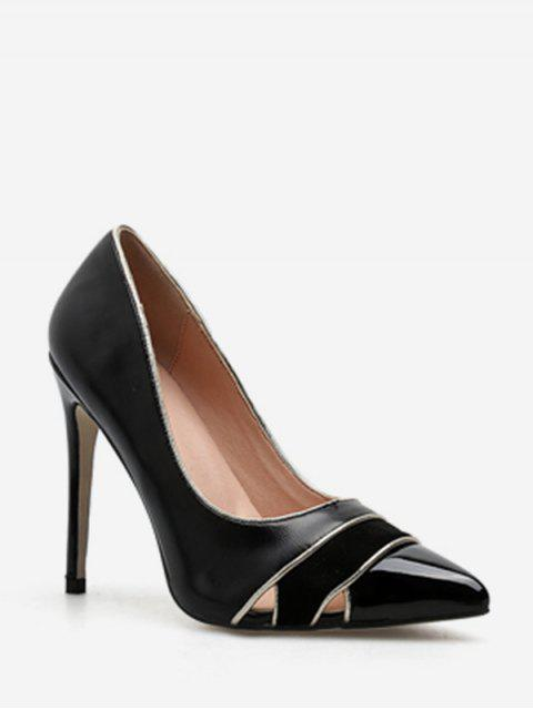 ladies Cut Out Striped Pointed Toe Pumps - BLACK EU 40 Mobile