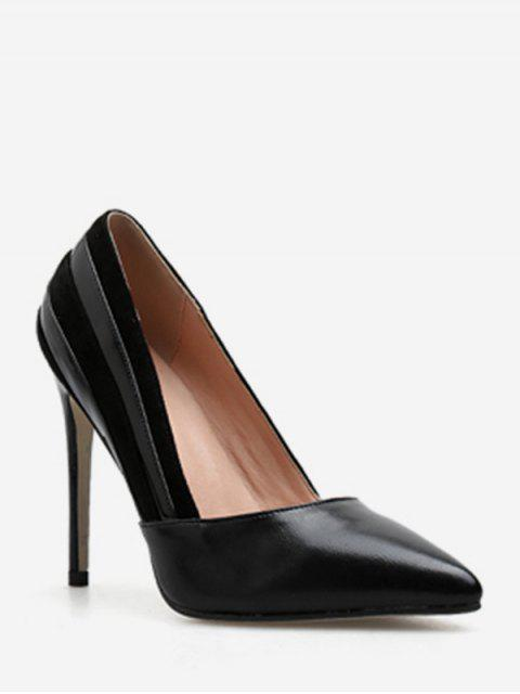 fancy Suede Stripe Pointed Toe Pumps - BLACK EU 39 Mobile