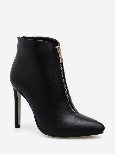 Front Zip Pointed Toe Leather Ankle Boots - Чёрный ЕС 39 Mobile