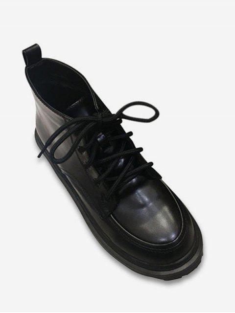 Tie Up Round Toe Ankle Boots - Чёрный ЕС 39 Mobile