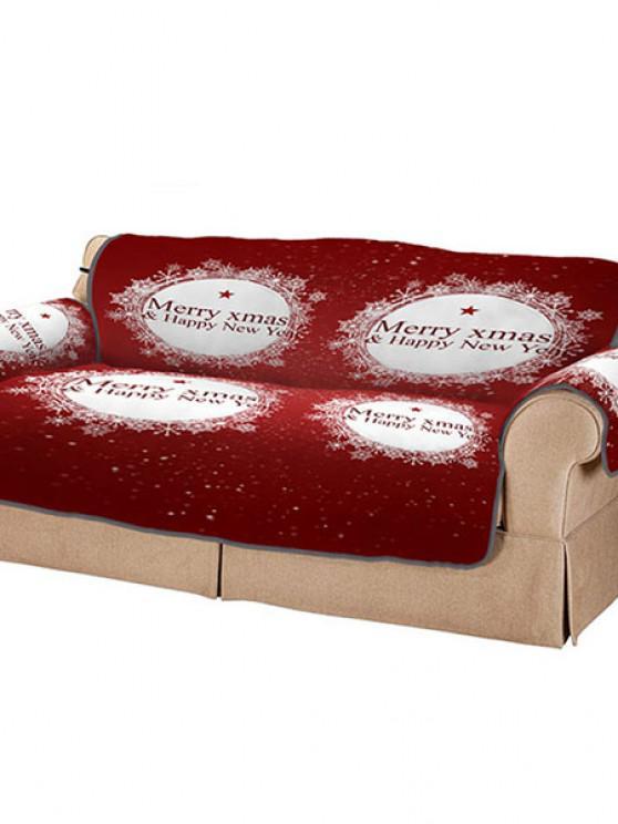 3D Digital Printed Christmas Snowflake Patterned Sofa Cushion Sofa Cover - أحمر كثير
