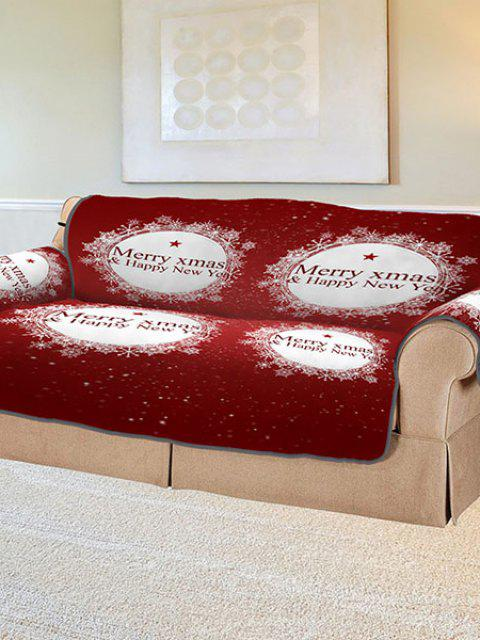 latest 3D Digital Printed Christmas Snowflake Patterned Sofa Cushion Sofa Cover - RED MANY Mobile