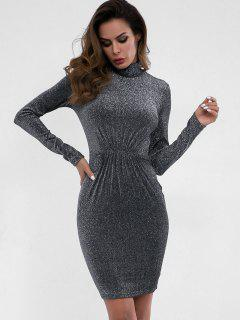 High Neck Ruched Sparkle Dress - Dark Gray L