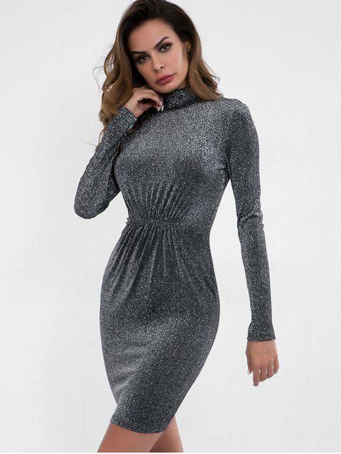 latest High Neck Ruched Sparkle Dress - DARK GRAY L Mobile