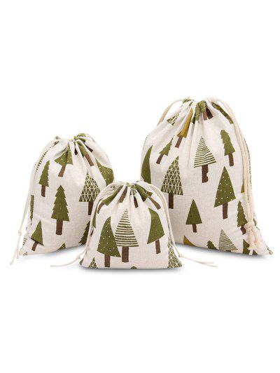3pcs Fresh Christmas Trees Printed Cotton Flax Tea Bag Storage Pouch - Green
