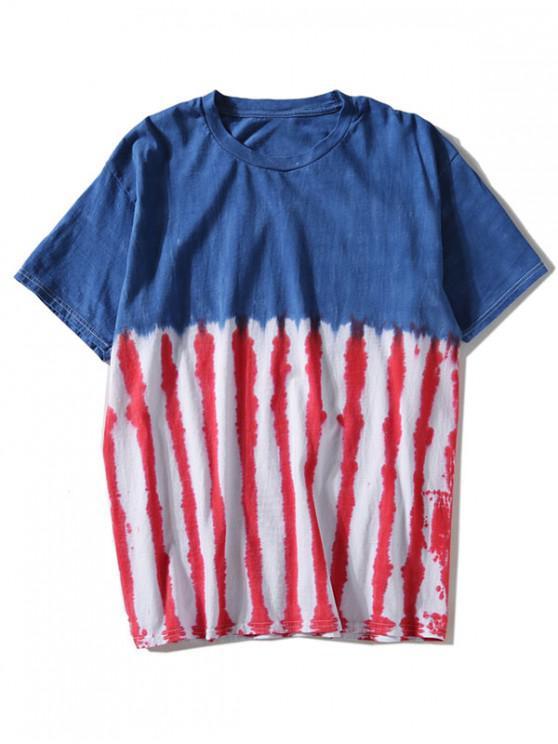 Camiseta a rayas teñida anudada - Azul 2XL