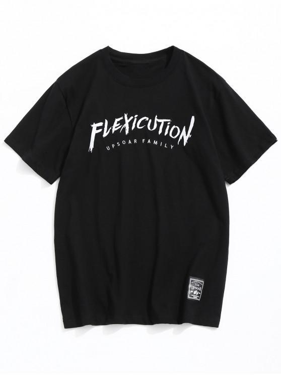 T-shirt Lettres Brodé à Manches Courtes - Noir M