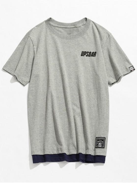 Camiseta casual de algodón de manga corta - Gris XL