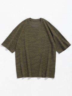 Camiseta Con Cuello Redondo Y Estampado De Camuflaje - Verde Camuflaje L