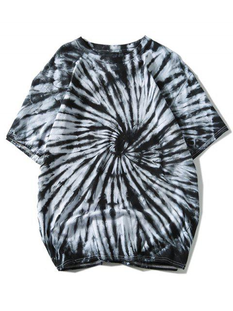 trendy Short Sleeve Tie Dye Tee - BLACK 2XL Mobile