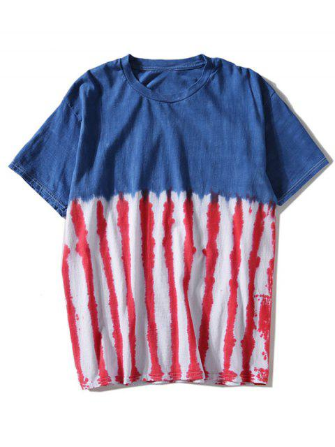 ladies Tie Dyed Striped T-shirt - BLUE L Mobile