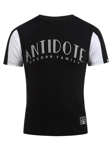 Camiseta con estampado de letras - Negro XL Mobile