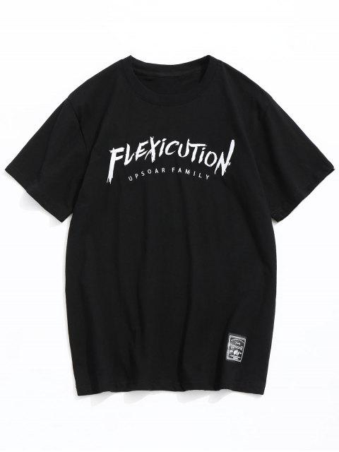 fashion Short Sleeve Letter Embroidey Tee - BLACK M Mobile