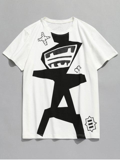 Camiseta con cuello redondo y patrón abstracto - Blanco 2XL Mobile