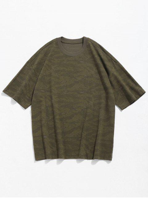 women Camo Print Round Neck T-shirt - CAMOUFLAGE GREEN L Mobile