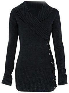 Fashion Women's V-neck Sweater - Black M