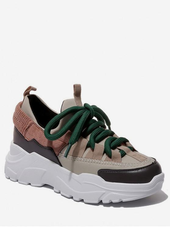 best Color Block Platform Sport Sneakers - WARM WHITE EU 36