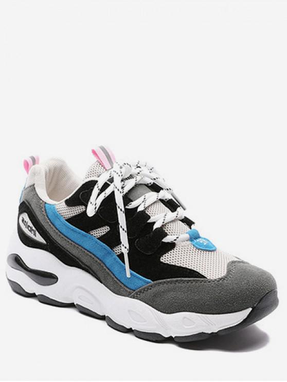 hot Color Block Mesh Trim Platform Sneakers - BLACK EU 40