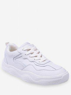 Fur Lined Lacing Casual Sneakers - Warm White Eu 36