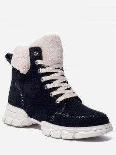 Faux Fur Trim Lacing Sneaker Boots - Black Eu 36