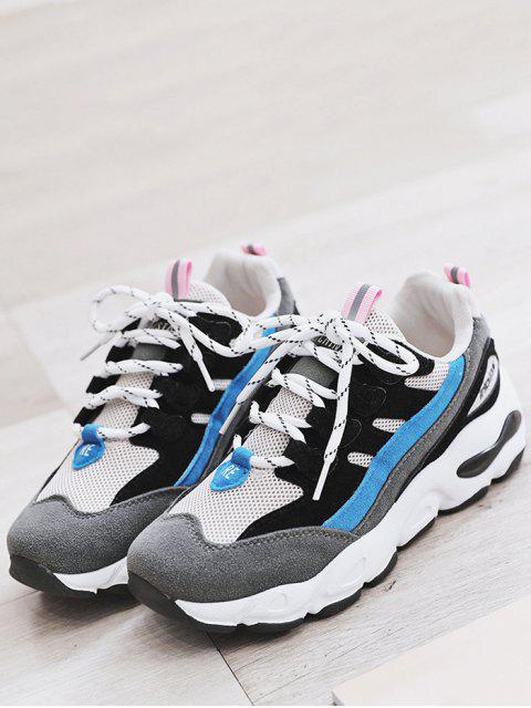 chic Color Block Mesh Trim Platform Sneakers - BLACK EU 36 Mobile