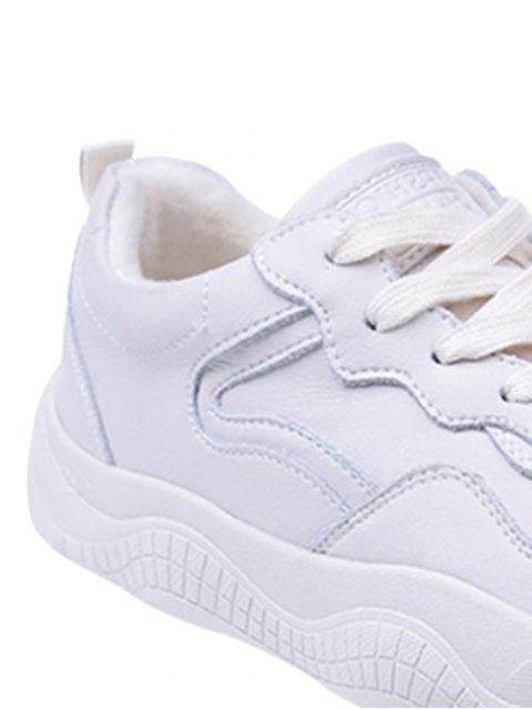 fancy Fur Lined Lacing Casual Sneakers - WARM WHITE EU 36 Mobile