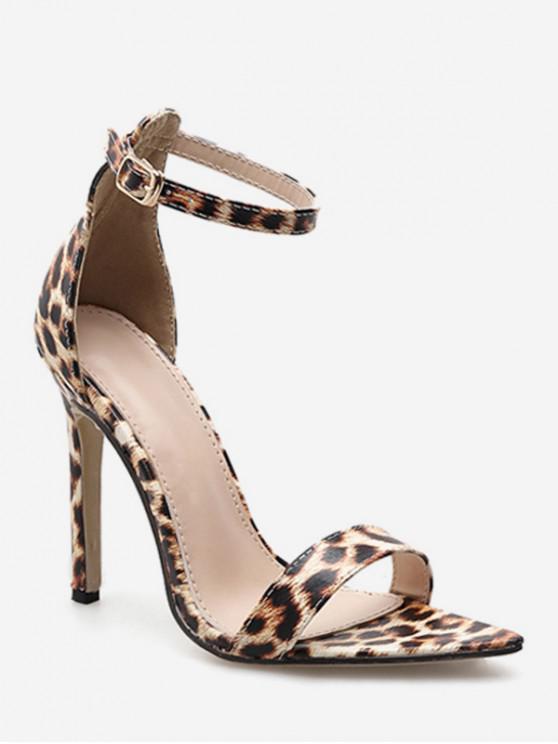 0e69bdbabeb1 34% OFF  2019 Ankle Strap High Heel Leopard Sandals In LEOPARD