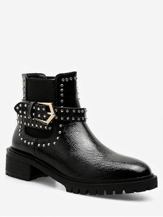women Studded Strap Short Chelsea Boots - BLACK EU 37