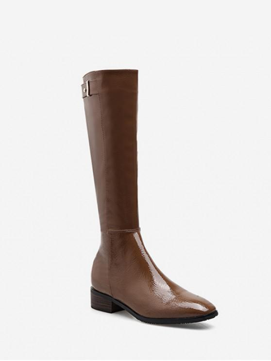 Patent Leather Square Toe Knee High Boots - القهوة العميقة الاتحاد الأوروبي 37
