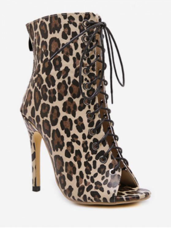 fancy Peep Toe Lace Up Leopard Boots - LEOPARD EU 39