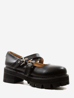 Crisscross Strap PU Platform Shoes - Black Eu 37