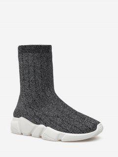 Knitted Glitter Platform Sneaker Boots - Black Eu 37