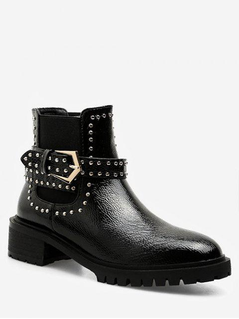 women Studded Strap Short Chelsea Boots - BLACK EU 37 Mobile